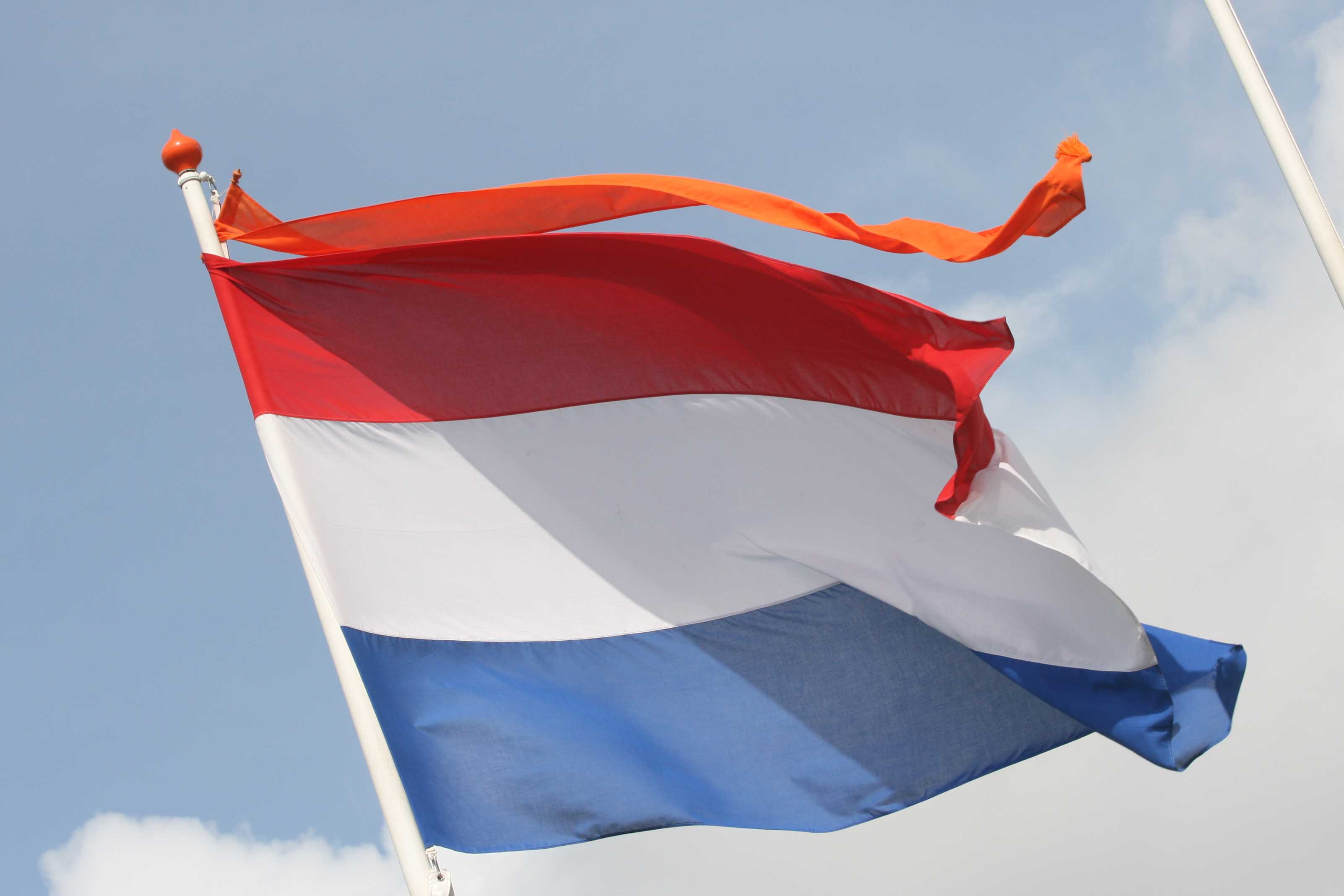 Nationale vlag + oranje wimpel