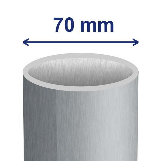 70 mm (ca. 64 mm inwendig)