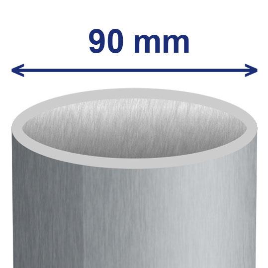 90 mm (ca. 84 mm inwendig)