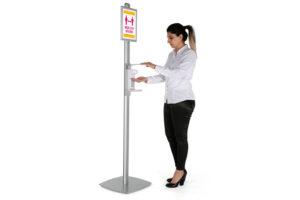 Desinfectie dispenser met poster