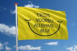 Themavlag 'Crisis voorbij allemaal blij!'