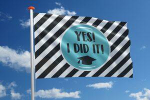 Geslaagdvlag: 'Yes I did it!'